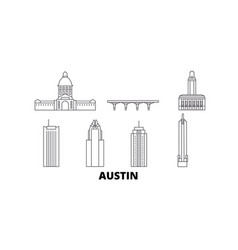 United states austin line travel skyline set vector
