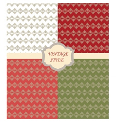Vintage set with Damask ornaments pattern vector image