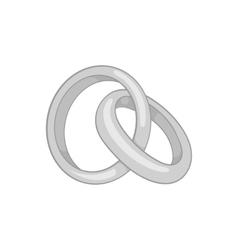Wedding rings icon black monochrome style vector
