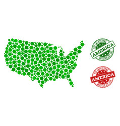welcome composition of map of usa and textured vector image