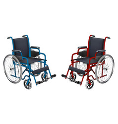 wheelchair blue and red colors medicine and vector image