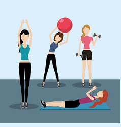 Women healthy lifestyle to do exercise vector