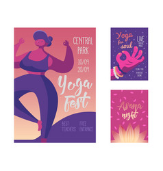 yoga festival poster body healthy lifestyle vector image