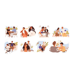 Young romantic couples on good and bad dates vector