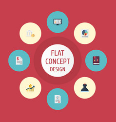 flat icons act bank accounting system and other vector image