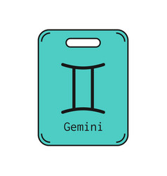 Gemini sign of the zodiac flat symbol horoscope vector