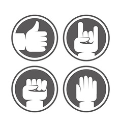 hands and gestures signs in black and white colors vector image