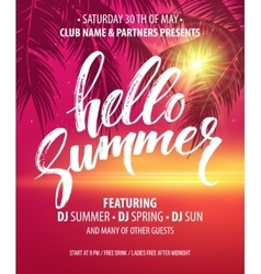 Hello Summer Party Flyer Design vector image vector image