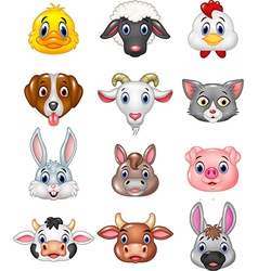 Cartoon happy animal head collection vector image vector image
