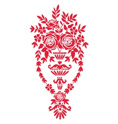 Floral design element with basket vector image vector image