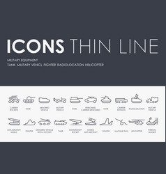 military equipment thin line icons vector image