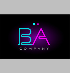neon lights alphabet ba b a letter logo icon vector image