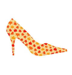 shoe with maple leaves vector image vector image