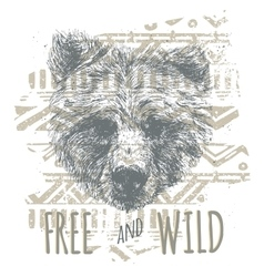Vintage graphic with bear head and slogan in vector image