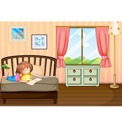 A child studying inside her room vector image