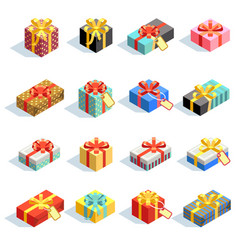big set of different colored 3d giftboxes with vector image vector image