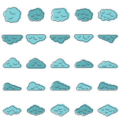 clouds set in cartoon style vector image