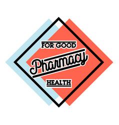 Color vintage pharmacy emblem vector