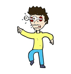 comic cartoon man with popping out eyes vector image