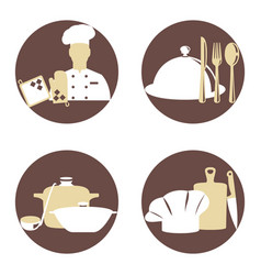 cook and kitchenware icon vector image