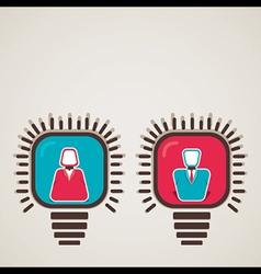 male female icon in bulb vector image