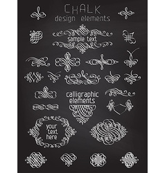 set of chalk calligraphic design elements vector image vector image