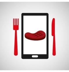 Smartphone order meat food online vector