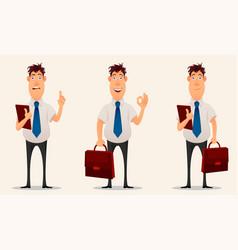 businessman office worker cartoon character set vector image