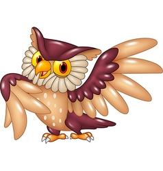 Cartoon funny owl bird posing vector image vector image
