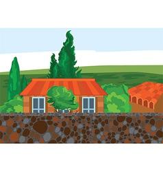 Cartoon house trees and wall vector image