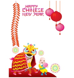 Chinese New Year Frame with Lion Dancing vector image