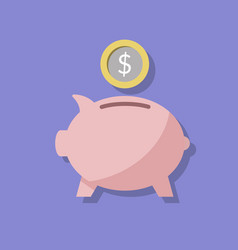 pink piggy piggy bank and coin or money a way to vector image