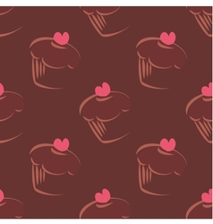 Tile cupcake brown pattern vector image