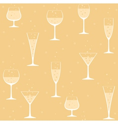 Wine glasses with champagne on yellow background vector image vector image