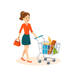 Woman shopping in store in basket products vector