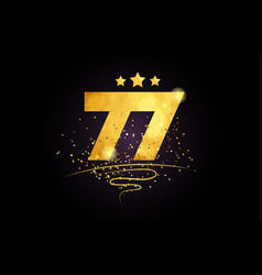 77 number icon design with golden star and glitter vector image