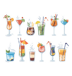 alcoholic and non-alcoholic cocktails with straws vector image
