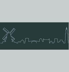 Amsterdam single line skyline vector