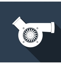 Automotive turbocharger icon with long shadow vector