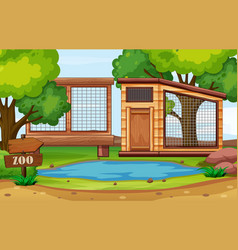 Background scene zoo park with empty cages vector