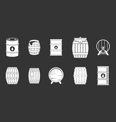 barrel icon set grey vector image