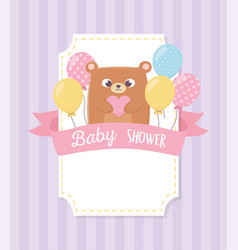 Bashower teddy bear with balloons background vector