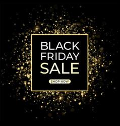 black friday sale design dark background and gold vector image