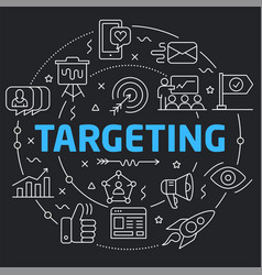 black line flat circle targeting vector image