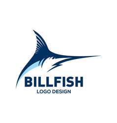 Blue marlin bill fish logo design template vector