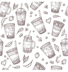 boba tea pattern asian drinks background bubble vector image