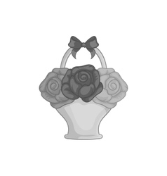 Bouquet in a basket icon black monochrome style vector image