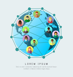 Business globalization and worldwide networking vector