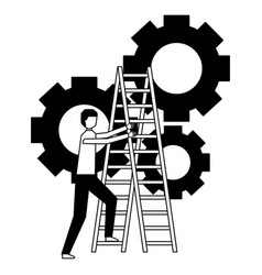 Business man climb stairs gears work vector
