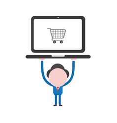 businessman character holding up laptop computer vector image